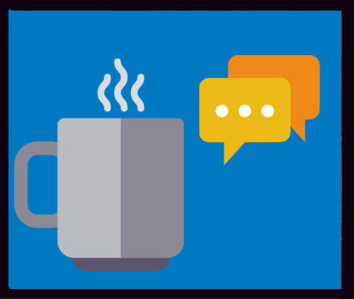 image of a coffee cup and speech bubbles - link to description of drop-in hours