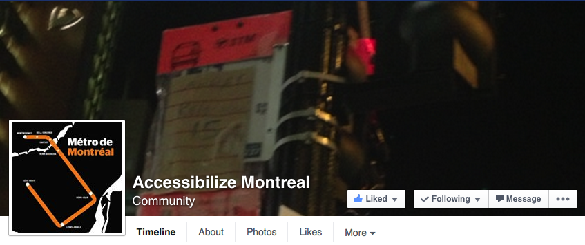 screenshot of accessibilize montreal facebook page - link to page