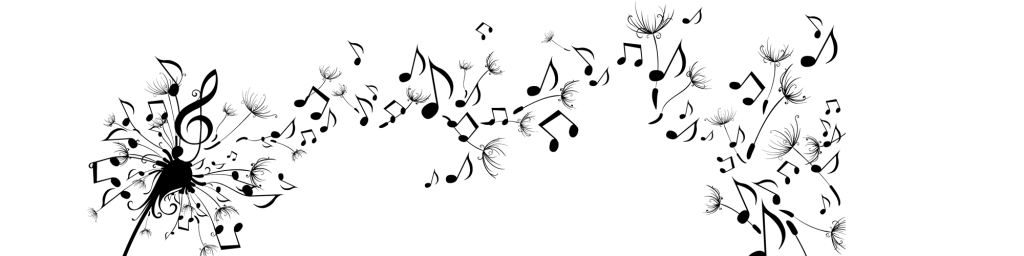 dandelion blowing in the wind, forming music notes