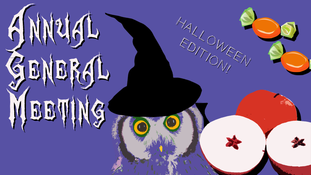 A cute owl wearing a witches hat, a sliced apple and some candy on a purple background